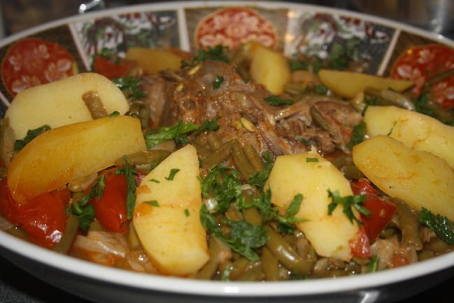 Tajine d\'agneau aux haricots verts, marka loubia khadra