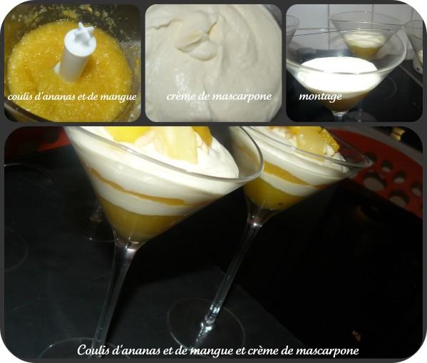montage coulis d\'ananas et mangue