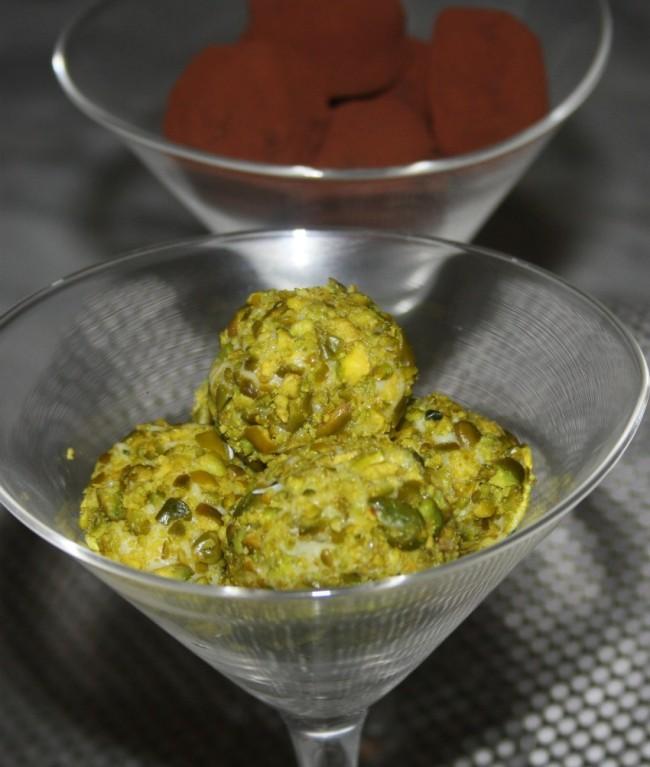 truffes au chocolat blanc et pistaches