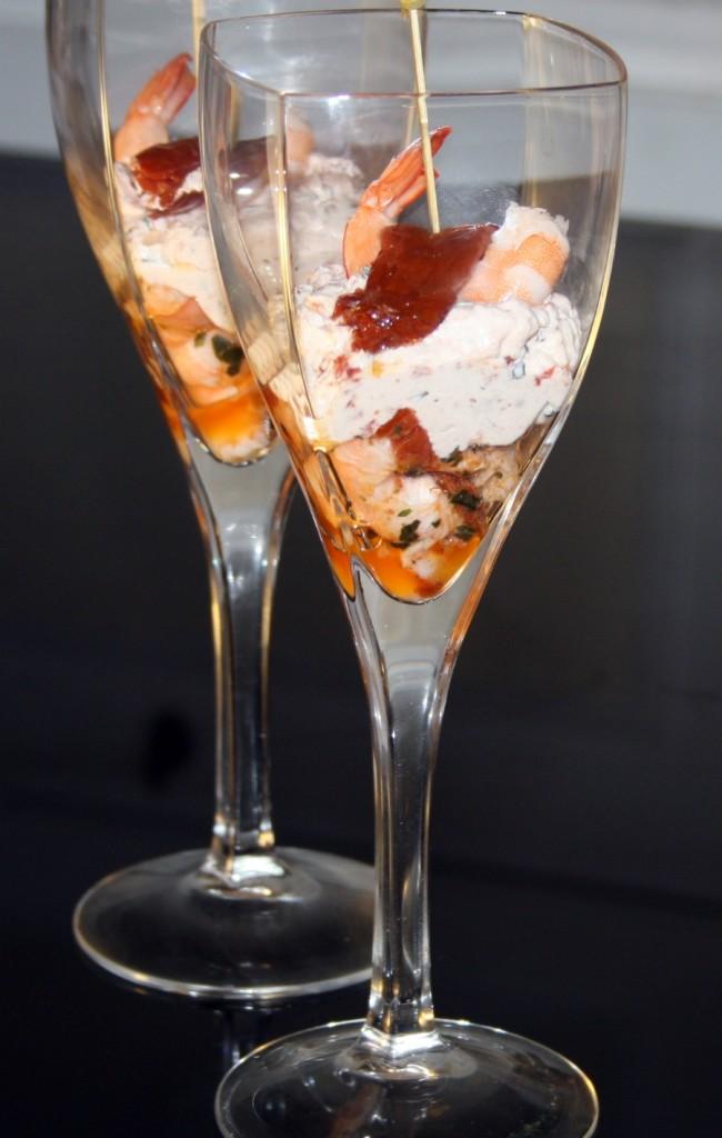Verrine de crevettes et tomates confites