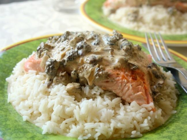 saumon sauce morilles